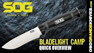 sog 2014 bladelight camp fixed blade knife blt21-k (integral led flashlight)