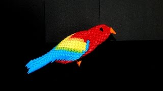 getlinkyoutube.com-3D Origami Parrot (macaw)  tutorial (instructions) part1