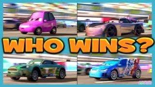 getlinkyoutube.com-Cars 2 The Game RAOUL CAROULE vs CHUKI vs BOOST vs NIGEL GEARSLEY 4 Player Race