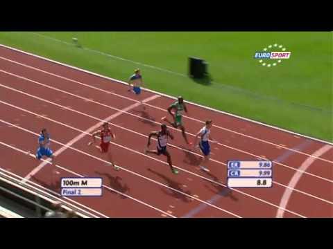 """Lemaitre 100m 9""""95 Record de France 2011 Stockholm"""