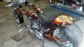 getlinkyoutube.com-Viper, Flames & Skulls American IronHorse painted by Steve Nunez