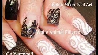 getlinkyoutube.com-Black and White Lace Nails | Elegant Filigree Nail Art Design
