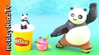 getlinkyoutube.com-Kung Fu Panda Battles Lego Panda! PLAY-DOH Fish Almost Eaten by Shark and Panda HobbyKidsTV