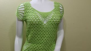 getlinkyoutube.com-Blusa Verde Limon Crochet