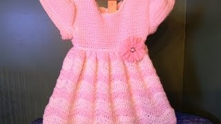 getlinkyoutube.com-How to Crochet a Baby Dress Wave Ripple stitch