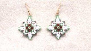 getlinkyoutube.com-Beading4perfectionists : Christmas earrings with superduo beads beading tutorial