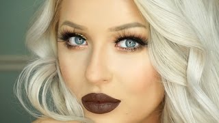 getlinkyoutube.com-Foiled Gold Eyes & Chocolate Brown Lips Makeup Tutorial   Morphe 35O Palette