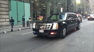 getlinkyoutube.com-United States President Obama's Presidential Motorcade With U.S. Secret Service & NYPD In Manhattan