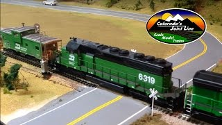 getlinkyoutube.com-HO Scale BN Coal train with Helpers & Caboose Ops Session - Colorado Joint Line Layout Update #9