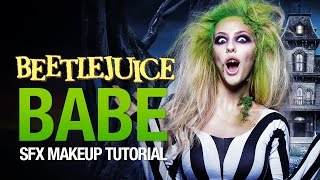 getlinkyoutube.com-Beetlejuice babe halloween makeup tutorial