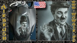 """getlinkyoutube.com-Airbrush by Wow No.663 """"Black & White Portraits : Charlie Chaplin """" with english commentary HD"""