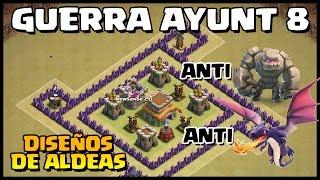 getlinkyoutube.com-DISEÑO DE ALDEA GUERRA AYUNT 8 - ANTI GOLEM Y DRAGONES - Clash of Clans - Español - CoC
