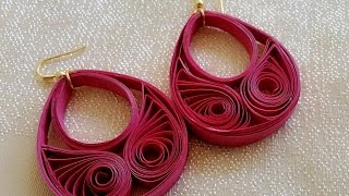 getlinkyoutube.com-New Model quilling papers earring - Paper earrings making tutorial video