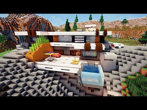 Minecraft Maison moderne sur falaise :)