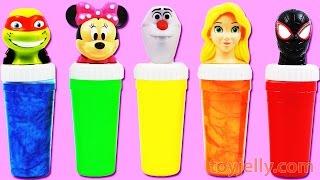 getlinkyoutube.com-Learn Colors Finger Family Song Nursery Rhymes Spiderman Disney Minnie Mouse Slime Toy Surprises