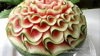 getlinkyoutube.com-แกะสลักแตงโมลายเอสเดี่ยวติดเปลือก แบบที่7,Watermelon Carving Patterns7