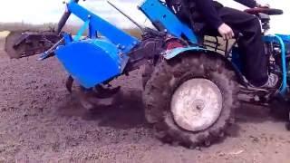 Мини трактор из мотоблока с фрезой с опорным катком