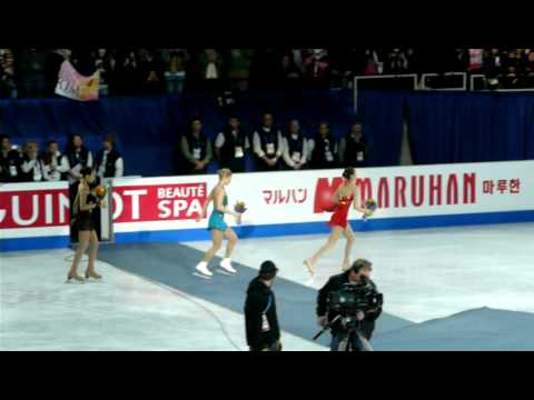 KIM Yu-Na Celebration lap with ASADA Mao, ROCHETTE Joannie