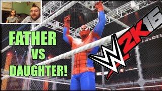 getlinkyoutube.com-WWE 2K16 FAT DAD RAGES DAUGHTER DOMINATES! Grim vs Spiderman PS4 Wrestling Match Gameplay