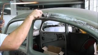 getlinkyoutube.com-Lead Wiping After Removing Rain Gutters On A 1971 Volkswagen Beetle