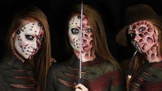 getlinkyoutube.com-Freddy vs. Jason Makeup Tutorial (Clothes Painted On!)   Slasher Masher