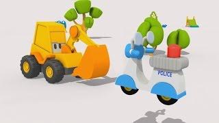 getlinkyoutube.com-Cartoni animati per bambini: L'escavatore Max la moto della polizia