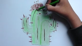 getlinkyoutube.com-Dibujar y pintar a Cactus (Plantas Zombies) - Draw and paint Cactus