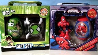getlinkyoutube.com-Super Surprise Eggs Gift Set Ultimate Spiderman Marvel BEN10 Easter Eggs by Disneycollector