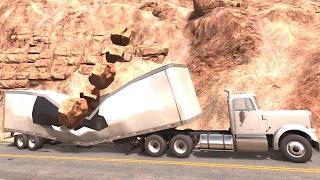 getlinkyoutube.com-BeamNG Drive - Huge Rocks Falling on Vehicles