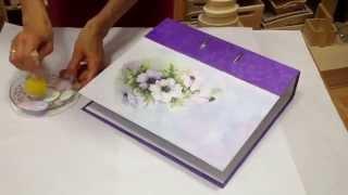 Decoupage tutorial - DIY. How to decorate folder/file with rice paper. Dekorieren ordner