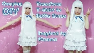 getlinkyoutube.com-DIY - Transform your T-Shirt to Ruffle Dress - Inspired by Anime Menma