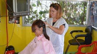 getlinkyoutube.com-Caping and brushing for haircut
