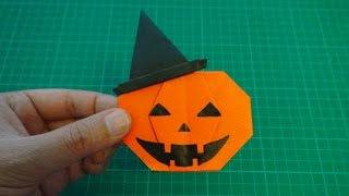 getlinkyoutube.com-origami 【Halloween/jack o'lantern in a in a witch hat】