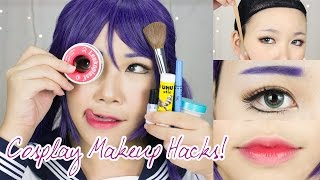 getlinkyoutube.com-8 Cosplay Makeup Hacks EVERYONE Should Know! | Face Taping, Brow Concealing, Anime Lips