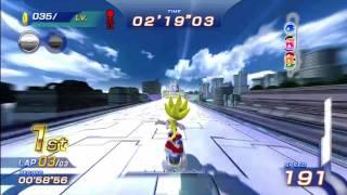getlinkyoutube.com-Sonic Free Riders: Metal City (Standard / Free Race) {Super Sonic} [1080 HD]