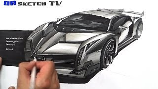 "getlinkyoutube.com-온스케치 TV Car Sketch - ""Lamborghini Veneno Sketch (Color Pencil+AD Marker)"""