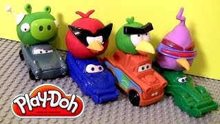 getlinkyoutube.com-Play Doh Cars Angry Birds Space Mater & Lightning McQueen as Red Bird and Bad Piggies Disney Pixar