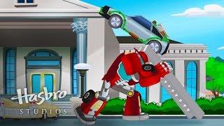"getlinkyoutube.com-Transformers: Rescue Bots - Griffin Rock Rescues ""Runaway Car"" Short"