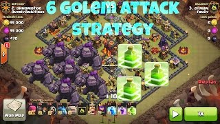 Clash Of Clans - New Elite 6 Golem + 3 Jump Spell Attack Strategy - Destroy Max Th10