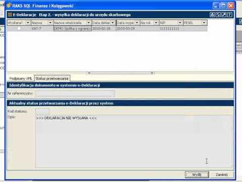 E-deklaracje w programie RAKSSQL