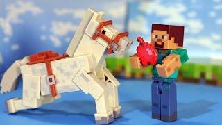 getlinkyoutube.com-Игрушки Майнкрафт. Фигурки Стив и Лошадь, Животные. Маленький мультик Майнкрафт. Minecraft Toys