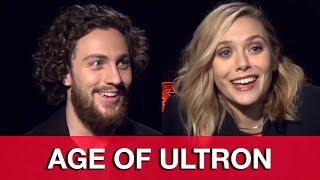 getlinkyoutube.com-Avengers Age of Ultron Interview: Aaron Taylor-Johnson & Elizabeth Olsen Quicksilver & Scarlet Witch