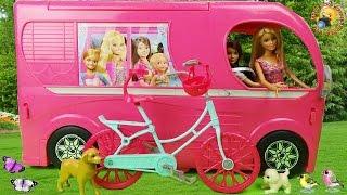 getlinkyoutube.com-Авто домик для куклы Барби с мебелью. Распаковка игрушек для девочек  Barbie Pop Up Camper 2015