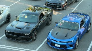 Who's the fastest ? Modern muscle cars drag race.