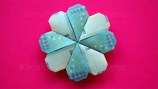 getlinkyoutube.com-Geldschein falten: Kleeblatt / Blume Geldgeschenke basteln - Geld falten Blüte zur Hochzeit