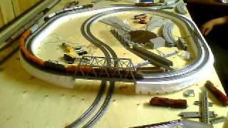 getlinkyoutube.com-Second main line compleate 4x8 n scale 3 trains running