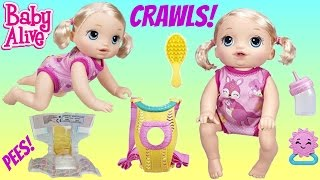 BABY ALIVE Go Bye Bye CRAWLS, Talks, Drinks, Pees, Play with Carrier, Snackin' Sara Doll Eats / TUYC