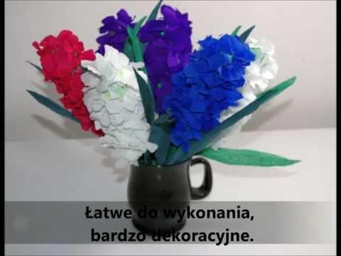 Kwiaty z bibuły  Piękny hiacynt   krok po kroku  DIY