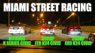getlinkyoutube.com-Miami street racing - 300hp ITB K24 eg vs 283hp K24 eg vs nitrous Kswap ek