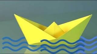 Papierboot. Origami Papierfaltkunst lerner